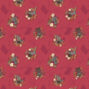 Lewis & Irene Farley Mount - 5575  - Horses on Raspberry Red - A227.2 - Cotton Fabric